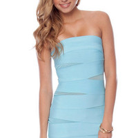 What a Mesh Bandage Dress in Baby Blue :: tobi