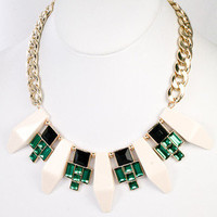 Savoy Deco Statement Necklace - Ivory + Emerald -  $27.00 | Daily Chic Accessories | International Shipping