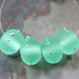 Etched Glass Bead Handmade Lampwork Beads Pale Emerald Green Sea Glass