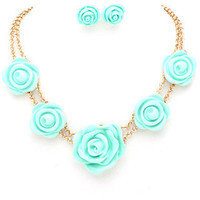 Rosebud Necklace - Mint -  $24.00 | Daily Chic Accessories | International Shipping