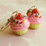 strawberry rainbow cupcake earrings  polymer by ScrumptiousDoodle