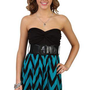 chevron print strapless dress with knot front and bubble hem - 1000047301 - debshops.com
