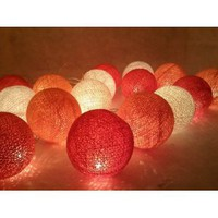 Amazon.com: I Love Handicraft Pink Red and White Color Cotton Ball String Lights Patio Wedding and Party Decoration (20 Balls/set): Everything Else