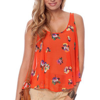Pushing Petals Tank Top in Orange :: tobi