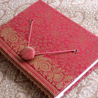 Red Sari Fabric Handmade Journal | WithAnIndianTouch - Paper/Books on ArtFire