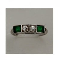 Antique Platinum Old European Cut Diamond and Synthetic Emerald Ring | artdecodiamonds - Jewelry on ArtFire