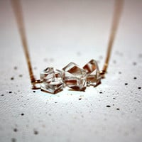 clara - Herkimer diamond trio necklace by lilla stjarna - 14k gold - gifts under 75 - Herkimer Jewelry - raw gemstone jewelry, quartz