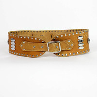 studded leather tribal cinch belt M/L