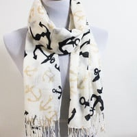Ivory Anchor Scarf Pashmina - On Sale