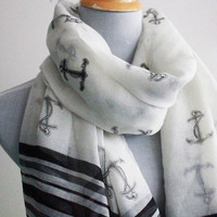 White Anchor Scarf Anchor Scarf Sailor Anchor Scarf