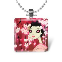Dark fairy tales errie japanese woman glass tile necklace keychain