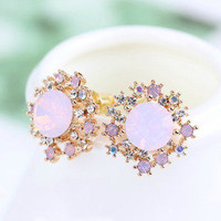 Rhinestone opal earrings