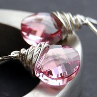 Swarovski Crystal Earrings Rose Pink Sterling by GreenRibbonGems