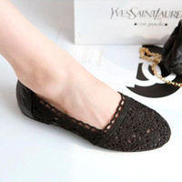Casual Womens Comfy Flat Openwork Shoes Round Toe Patchwork Weave Knitting 1lX