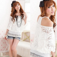 Womens Twinset Tank Top Camisole White Sexy Off shoulder See-through Lace sI
