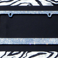 Sparkly Clear 8 Row Rhinestone Car License Plate Frame