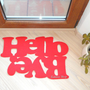 Doormat personalized mat / rug with double message &quot;Hello / Bye&quot;. Red.