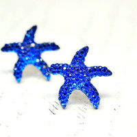 Blue Starfish Earrings, Glittery Star Fish, Nautical Ocean Beach Jewelry, Navy Blue Royal Blue Monaco Blue