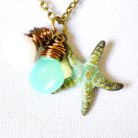 Starfish Necklace with Gemstones and Glass, Wire Wrapped Pendants and Teal Verdigris Starfish