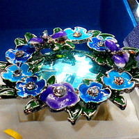 Dragonfly Blue Glass Enamel Flower Crystal Ring sz 8