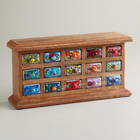 Rectangular Ceramic Drawer Wood Chest