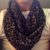 Grey and Black Cheetah Print Infinity Scarf