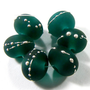 Lampwork Beads Etched Dark Teal Handmade Bead Etched Glass Silver SRA