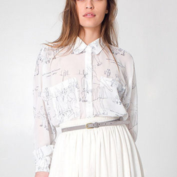 American Apparel - Illustrated Chiffon Oversized Button-Up