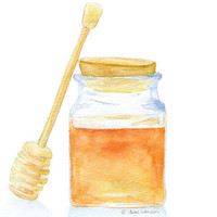 Honey Jar Watercolor Painting Giclee Print 8x10