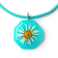 Blue Daisy Necklace, Real Flower, Botanical Jewelry, Resin Jewelry, Leather Thong