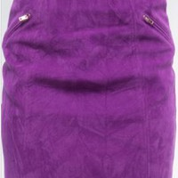 Purple Faux Leather Mini Skirt