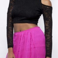 Black Lace High Neck Crop Top