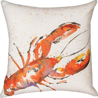 Handpainted Lobster Climaweave Pillow | OceanStyles.com