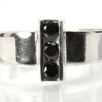 Black Spinel Statement Ring, Sterling Silver Three-Stone Black Spinel Ring