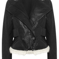 Faith Connexion | Shearling-trimmed leather and wool-blend jacket | NET-A-PORTER.COM