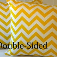 "Designer Yellow Chevron design indoor/outdoor beach - ""18x18"" pillow cover Double Sided"