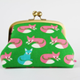 Travel pouch - Nordic fox on green - metal frame clutch bag