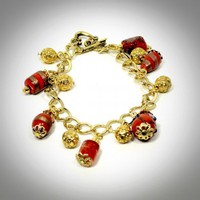 Red Hot Golden Charm Bracelet - N054