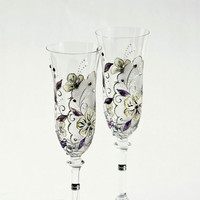 Wedding Toasting Champagne Cream and Purple by NevenaArtGlass