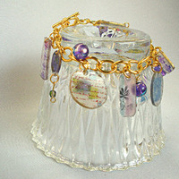 Bracelet, charm, goldtone links,purple beads,look of glass,