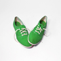 Vintage 80s Green &amp; White Polka Dot Sneakers Shoes - 7