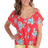 floral print challis top with tie front and cold shoulder cut outs - 1000047465 - debshops.com