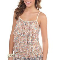 spaghetti strap tank top with ditsy floral ruffle front - 1000043472 - debshops.com