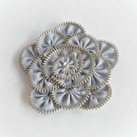 Flower Brooch gray Zipper Pin Approx 32 in/ 8 cm by ZipperDesign