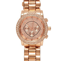 Rose gold tone rhinestone watch - watches - women