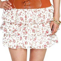 ditsy floral chiffon ruffle skirt - 1000047772 - debshops.com
