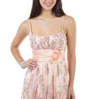 glitter mesh a line short party dress with floral cluster accent - 1000040104 - debshops.com