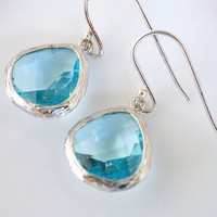 Bezel Set Aqua Earrings | Bellissimo Jewelry