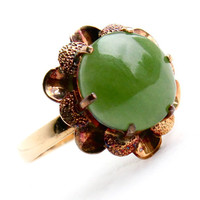 Antique 14k Yellow & Rose Gold Jade Ring - Size 6 1/2 Flower Statement Fine Jewelry / Floral Green