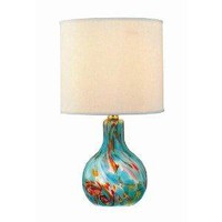 Amazon.com: Lite Source LS-20073AQUA Pepita Table Lamp, Aqua Glass with Fabric Shade: Home Improvement